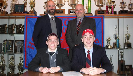 "<span style=""overflow: hidden; float: left; width: 360px;"">Holy Ghost's Collin O'Neill & Gregory Wozniak will be playing their respective sports at the collegiate level.</span> <span id=""fa_link"" style=""float: left; text-align: center; width: 151px; height: 22px;""><a href=""/college-signings/content/holy-ghost-athletes-sign-letters-intent""><img src=""/profiles/s1s/themes/s1s_classic/images/main_fullarticle.gif"" style=""position:relative;""/></a></span>"